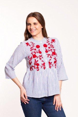 Bluza alba din bumbac cu dungi bleu si broderie florala rosie