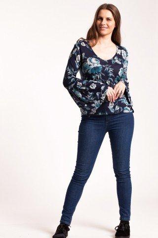 Bluza bleumarin Alion cu imprimeu floral si maneci clopot