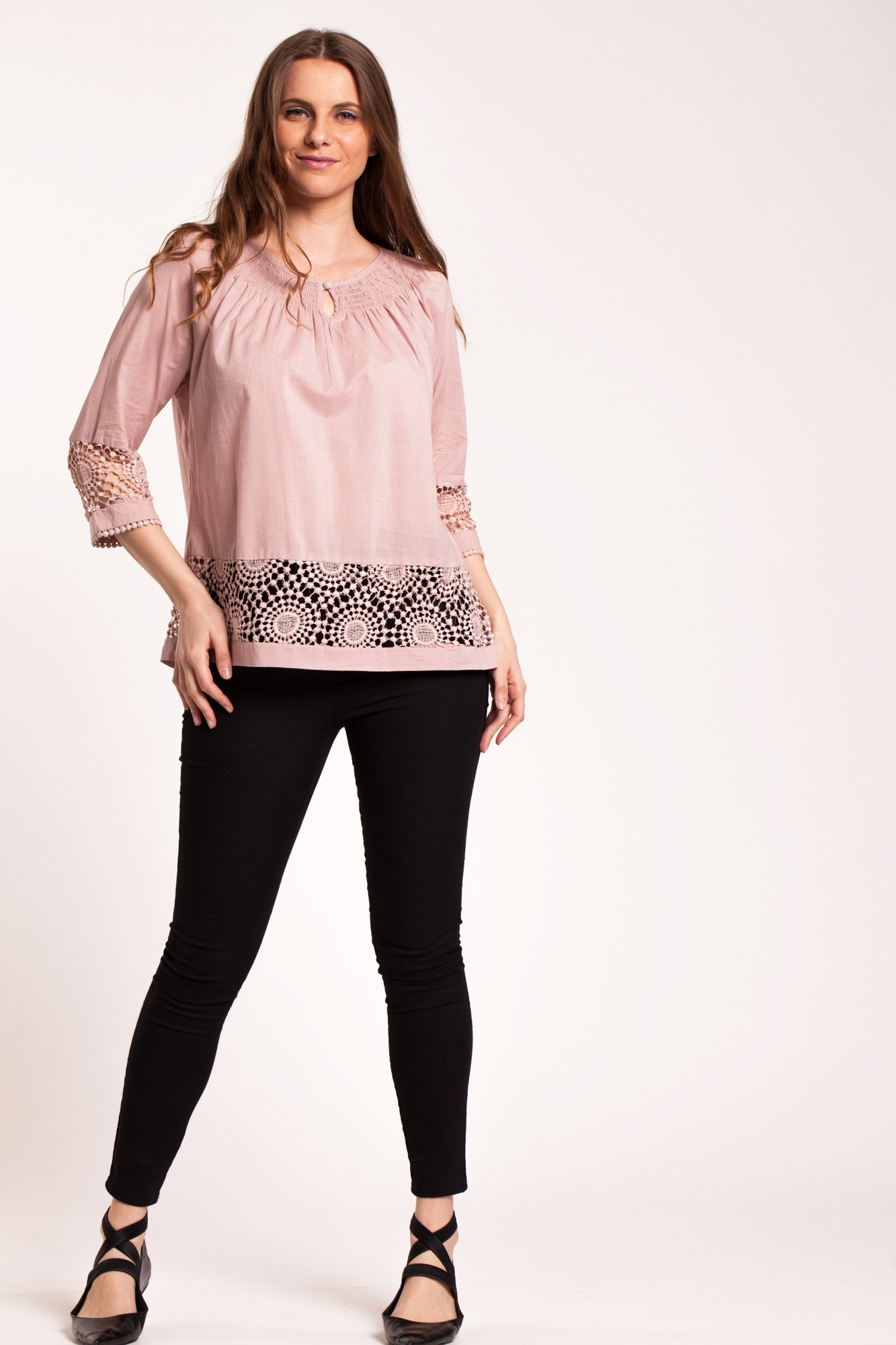 Bluza roz cenusiu din bumbac cu broderie sparta Afiya