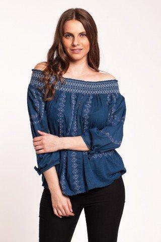 Bluza albastru petrol Cher tip iie cu elastic umeri