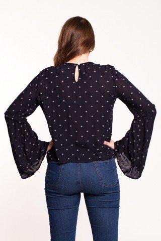 Bluza bleumarin din vascoza Antarte cu imprimeu si maneci clopot