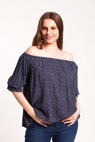 Bluza bleumarin casual din vascoza Brighitta cu buline imprimate