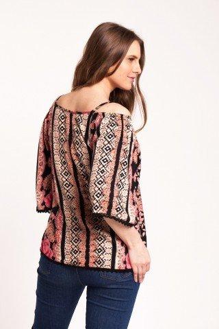Bluza neagra cu imprimeu Angy din vascoza fara umeri