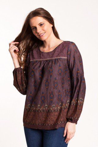 Bluza mov-maro Celly casual imprimata