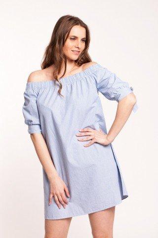 Rochie bleu Anelisse cu dungi scurta