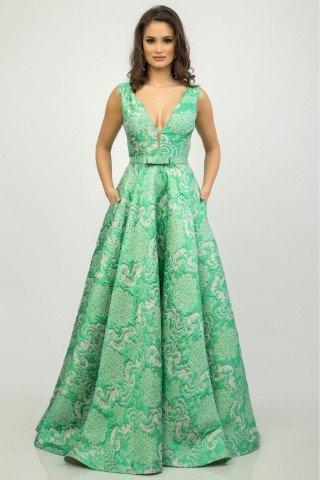 Rochie lunga de gala din jacquard verde menta