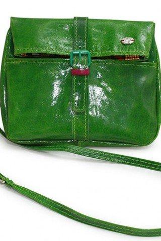 Geanta verde mica din piele