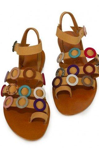 Sandale ocru din piele cu inele