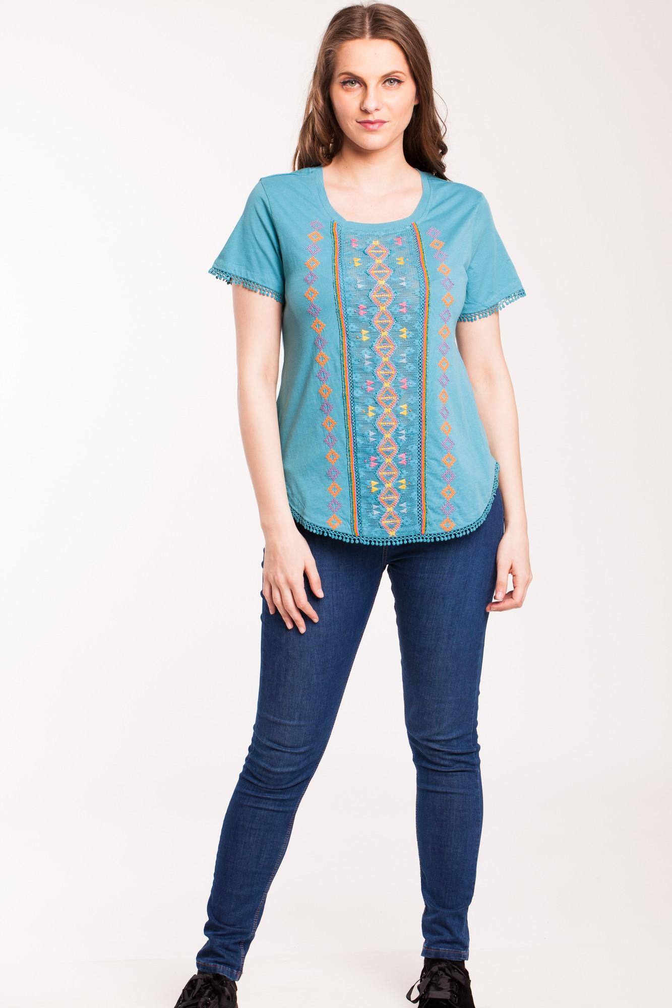 Bluza albastra casual Kamiseta cu aplicatii