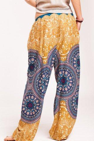 Pantaloni mandala galben-mustar Sashi din vascoza