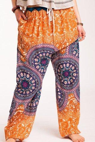 Pantaloni mandala portocalii Sashi din vascoza