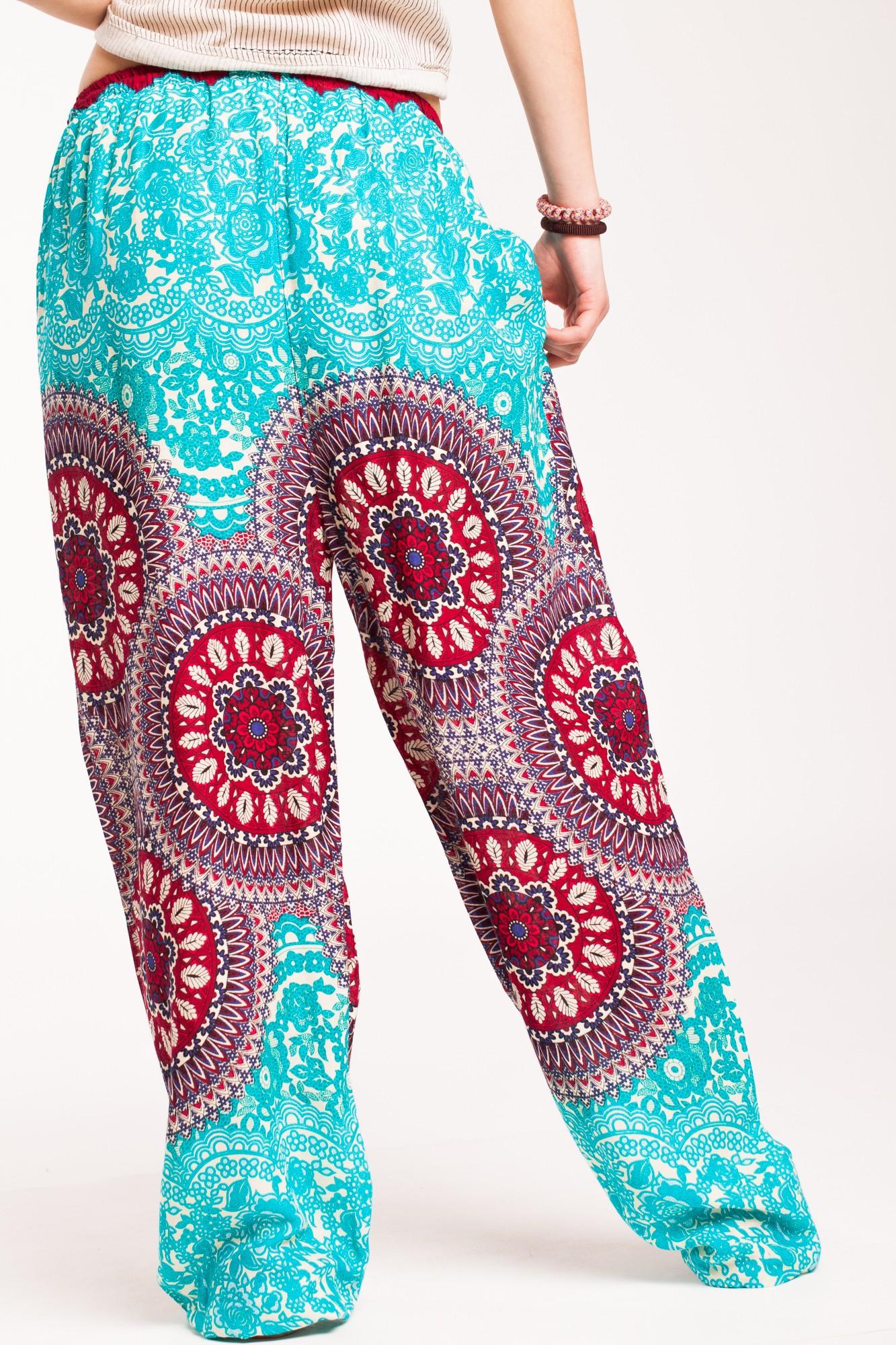 Pantaloni mandala turcoaz Sashi din vascoza