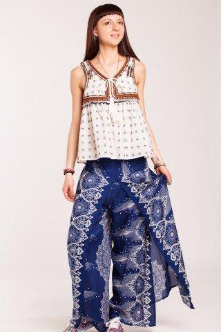 Pantaloni bleumarin din vascoza petrecuti