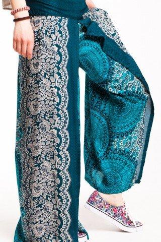 Pantaloni turcoaz-verde din vascoza petrecuti