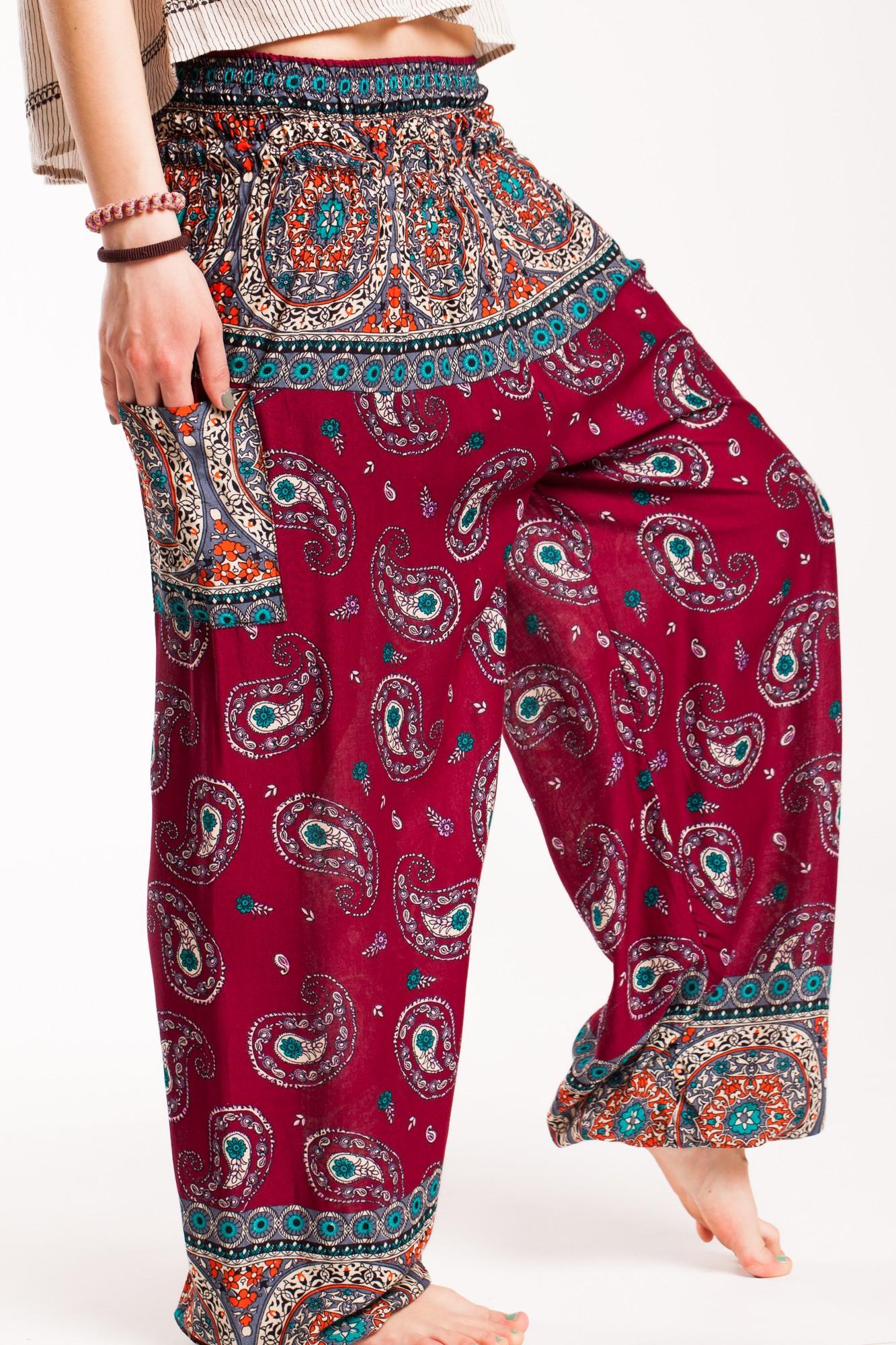 Pantaloni visinii din vascoza cu elastic lat