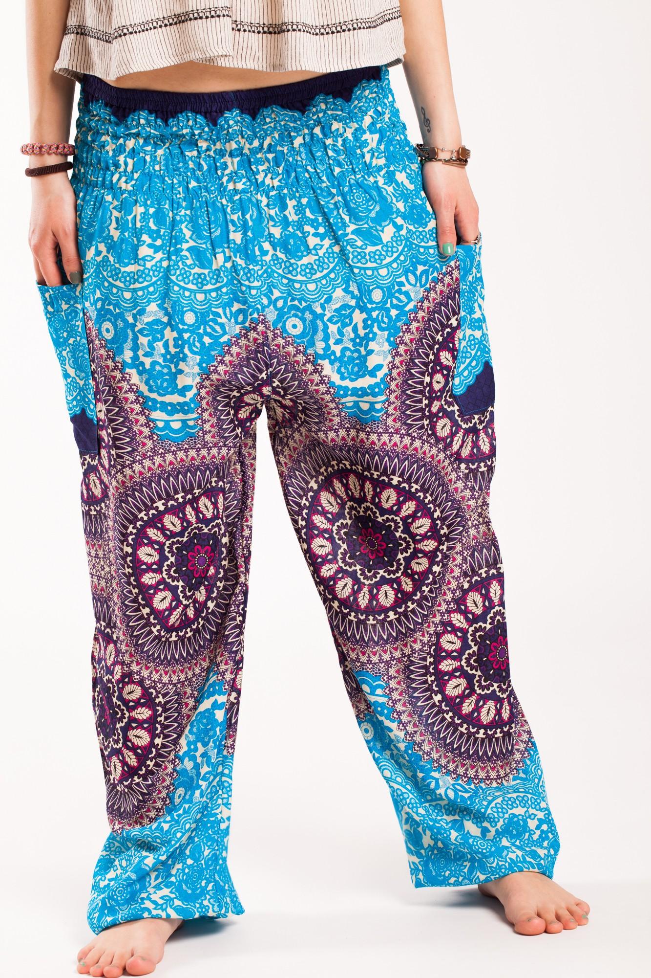 Pantaloni mandala bleu-mov din vascoza cu elastic lat