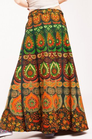 Fusta petrecuta verde inchis cu imprimeu floral portocaliu