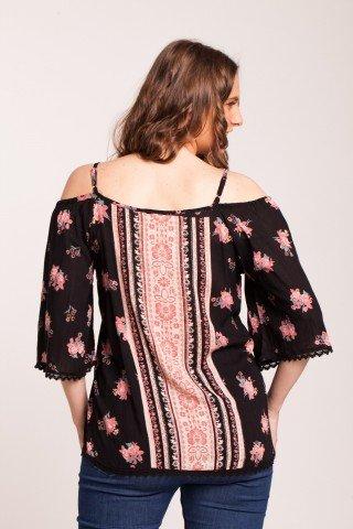 Bluza neagra Angy cu imprimeu roz din vascoza fara umeri