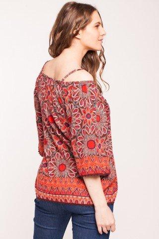 Bluza maro Angy cu imprimeu floral din vascoza fara umeri