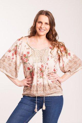 Bluza crem Angy cu imprimeu floral din vascoza fara umeri