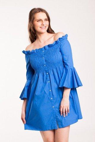 Rochie albastra Sumitra din bumbac cu nasturi si maneci clopot