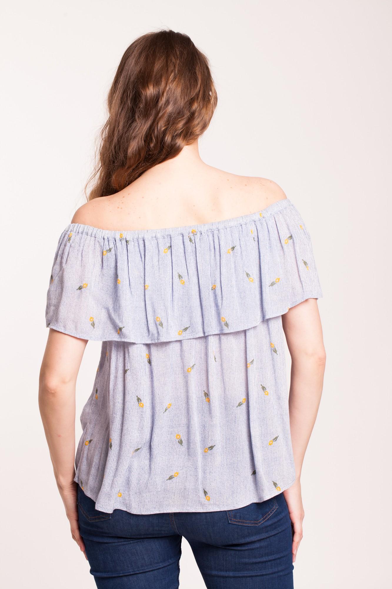 Bluza alba Adeona in dungi cu imprimeu floral