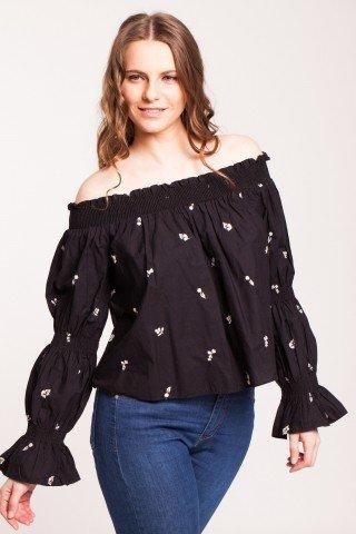 Bluza neagra Afina cu broderie floral si maneci clopot