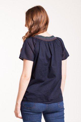 Bluza bleumarin din bumbac cu dublura si broderie