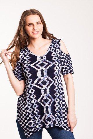 Bluza bleumarin din vascoza cu imprimeu geometric si margele aplicate
