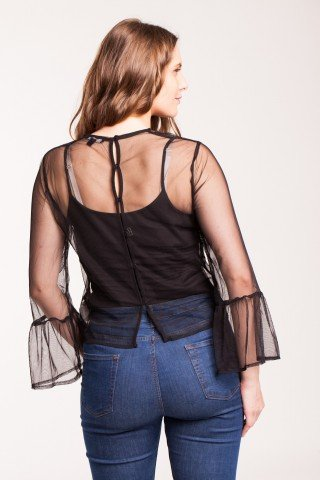 Bluza neagra transparenta brodata fara dublura