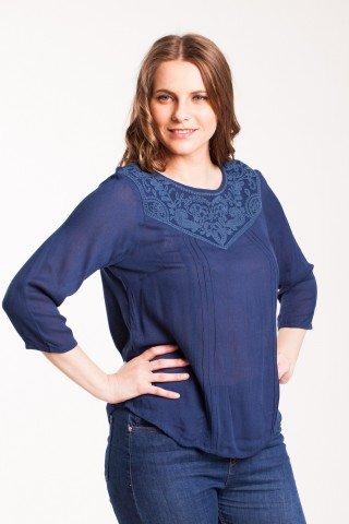 Bluza bleumarin Arthy din vascoza cu platca brodata