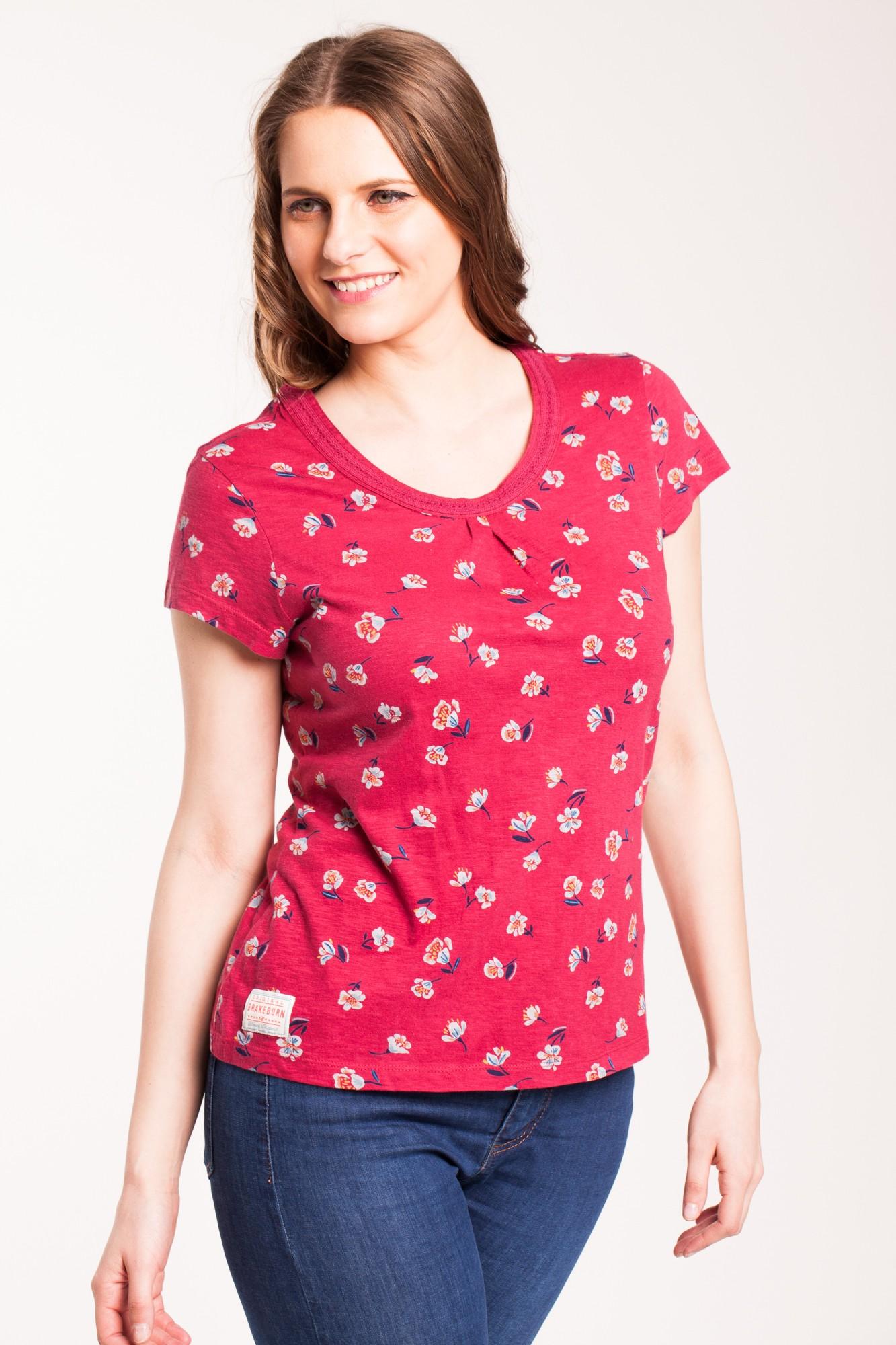 Bluza rosu cireasa Boria cu imprimeu floral din bumbac
