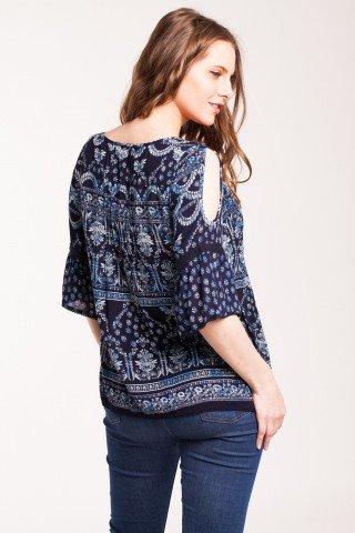 Bluza bleumarin Benia din vascoza cu imprimeu
