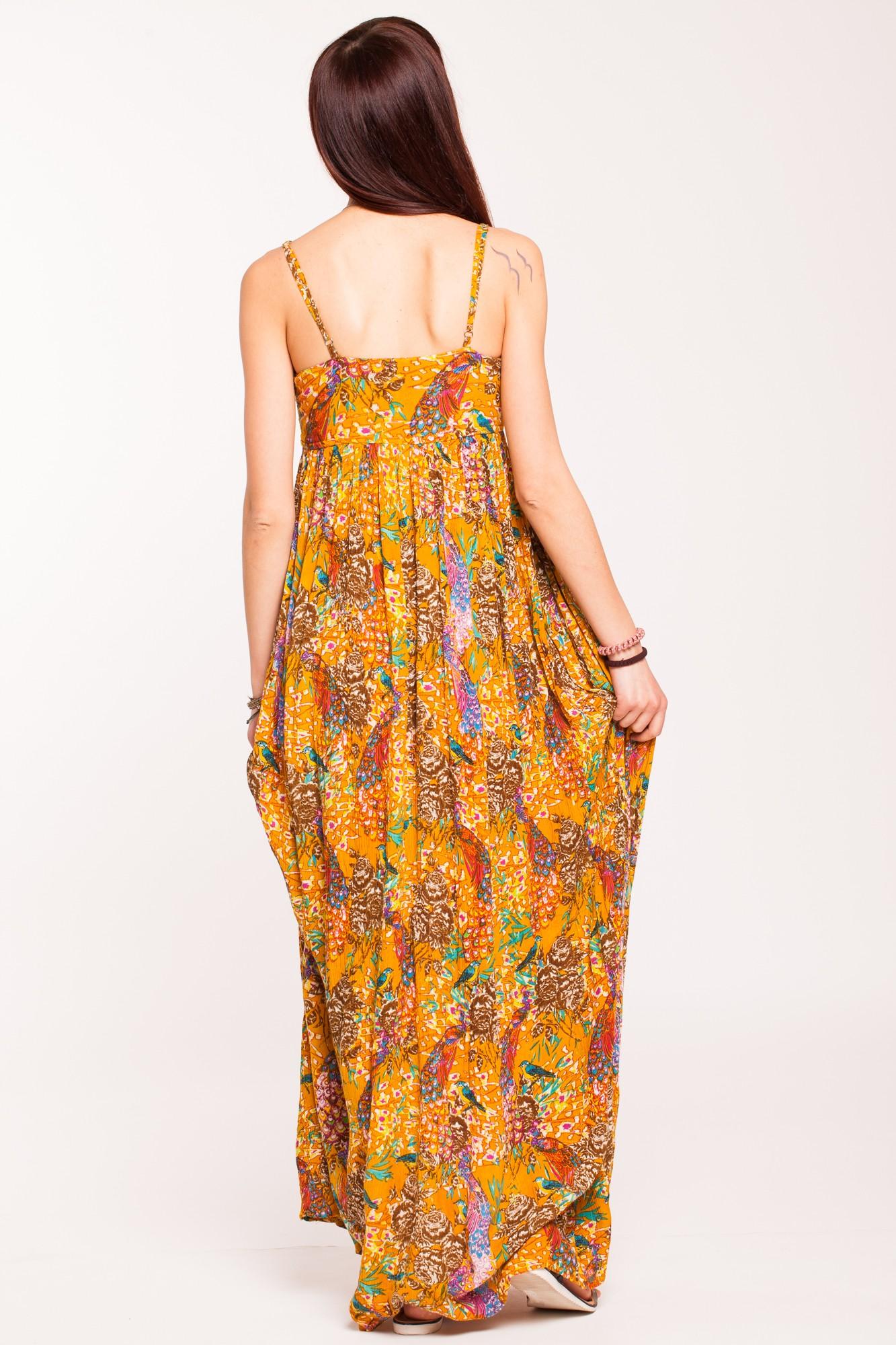 Rochie galben mustar lunga cu imprimeu si platca brodata piept