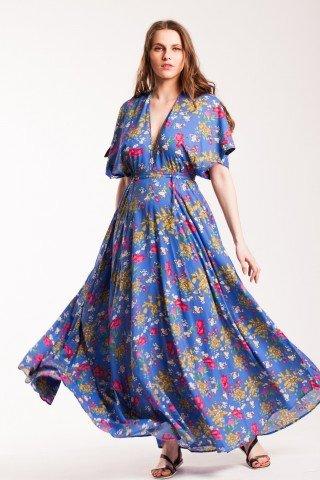 Rochie albastra lunga din bumbac Gipsy cu imprimeu floral