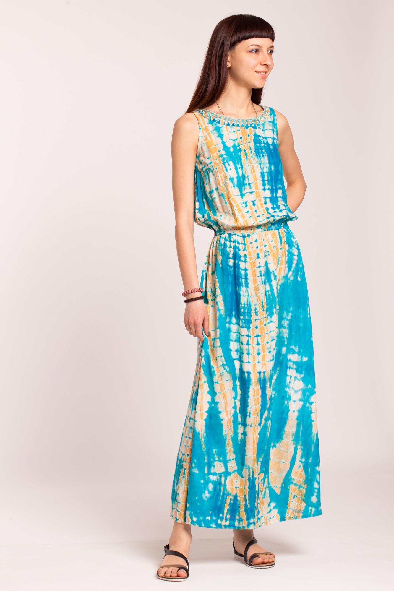 Rochie lunga turcoaz tie-dye din vascoza
