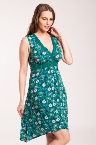 Rochie verde asimetrica Sisi cu imprimeu floral