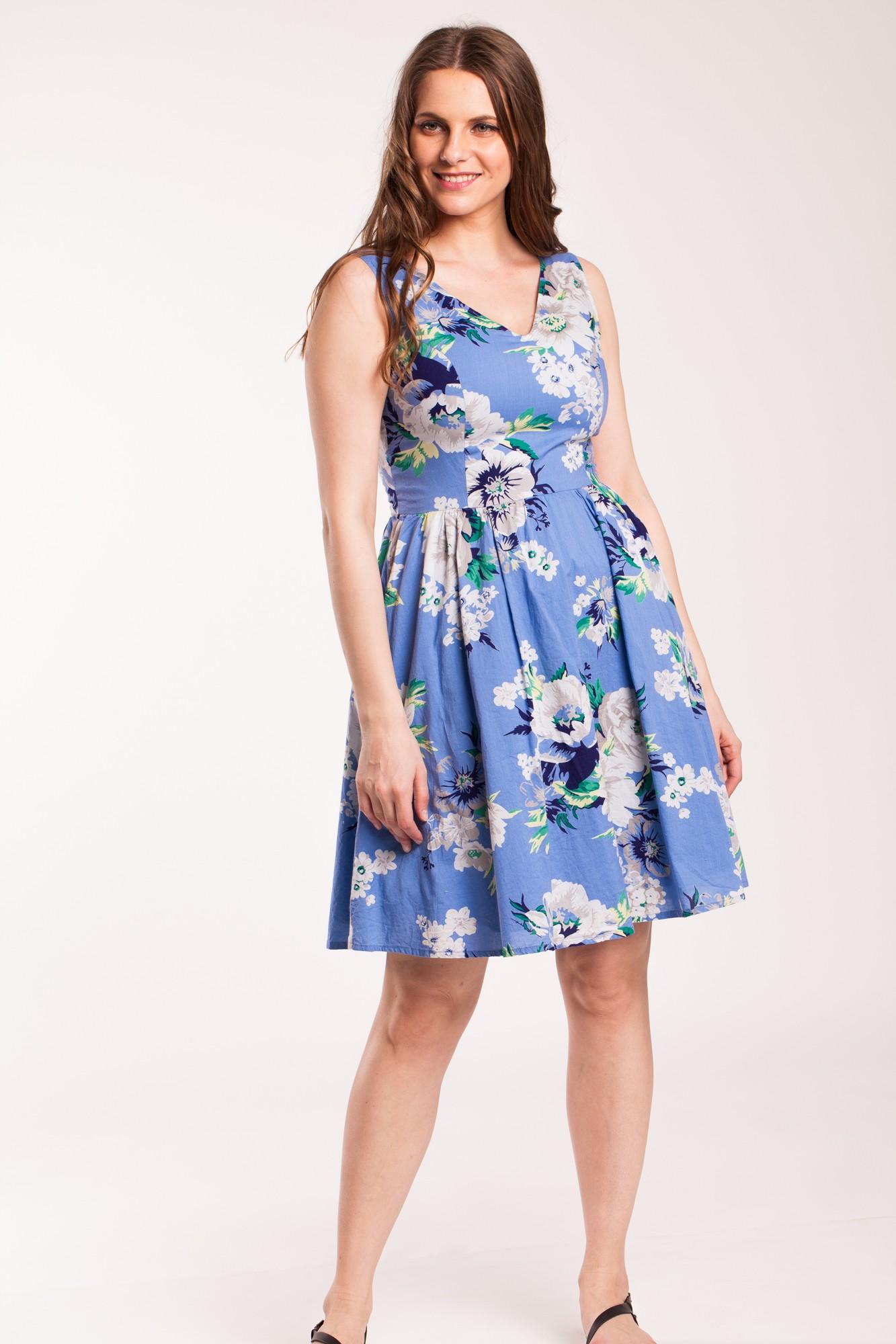 Rochie bleu Cosma din bumbac cu imprimeu floral