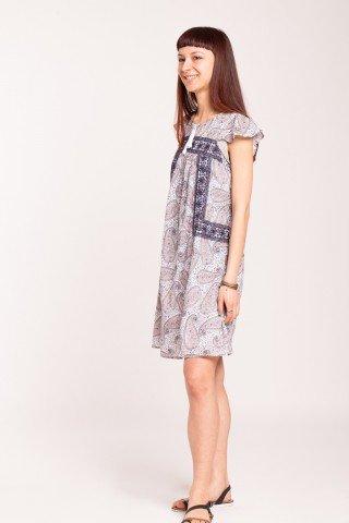 Rochie din bumbac cu imprimeu paisley si broderie florala bleumarin