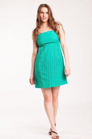 Rochie verde din bumbac cu broderie sparta