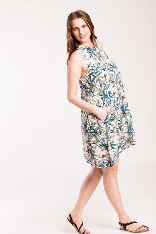 Rochie alba din vascoza cu imprimeu floral si buzunare