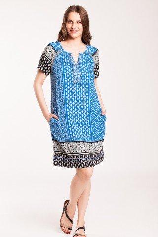 Rochie albastra din vascoza Dionisee cu imprimeu alb