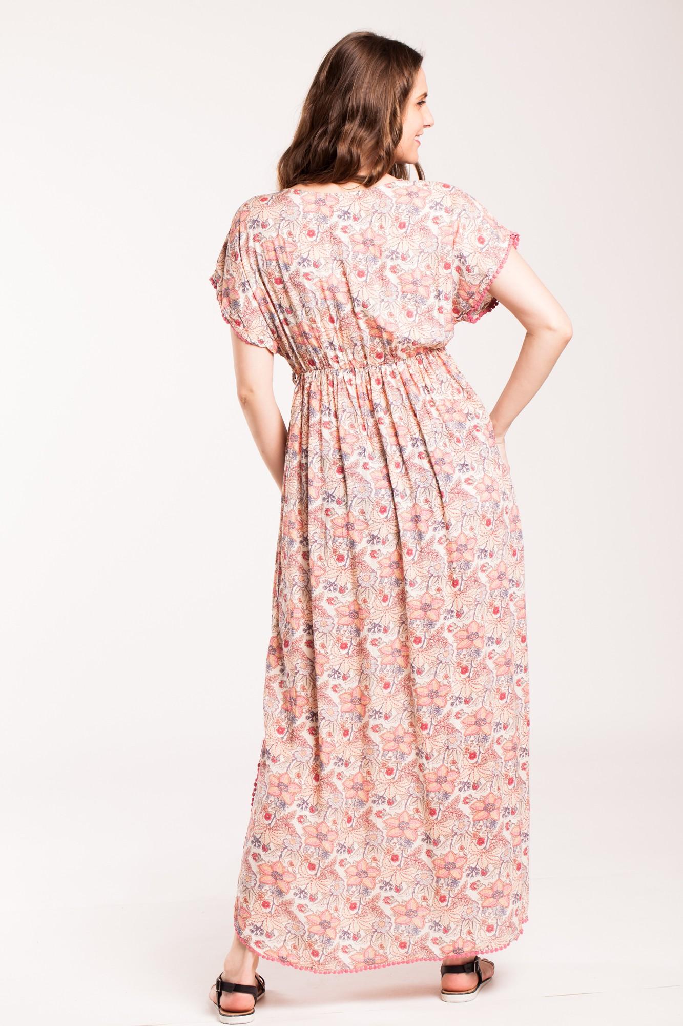 Rochie beige lunga Clarisa din vascoza cu imprimeu floral
