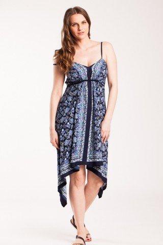 Rochie bleumarin Edmeya asimetrica accesorizata cu elastic