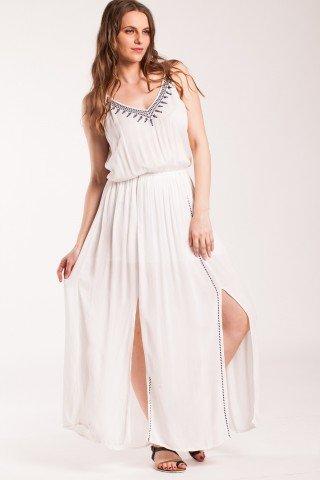 Rochie alba lunga Mariela din vascoza brodata