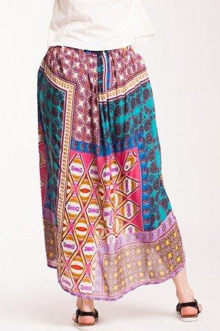 Fusta lunga Jimena asimetrica din vascoza cu imprimeu multicolor