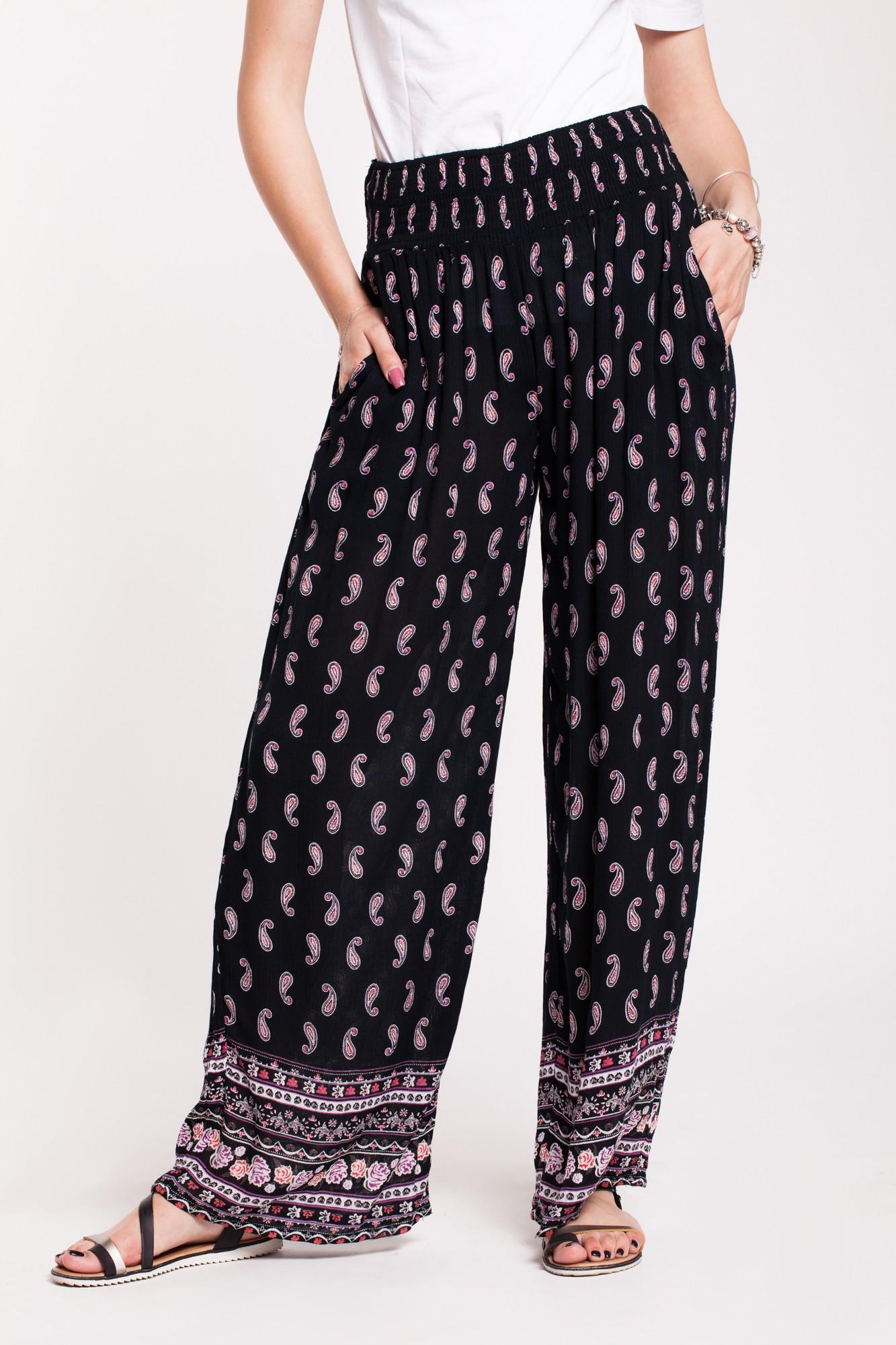 Pantaloni negri din vascoza cu imprimeu paisley