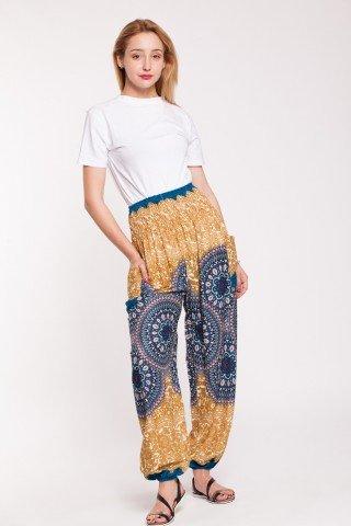 Pantaloni galben-mustar din vascoza cu elastic lat