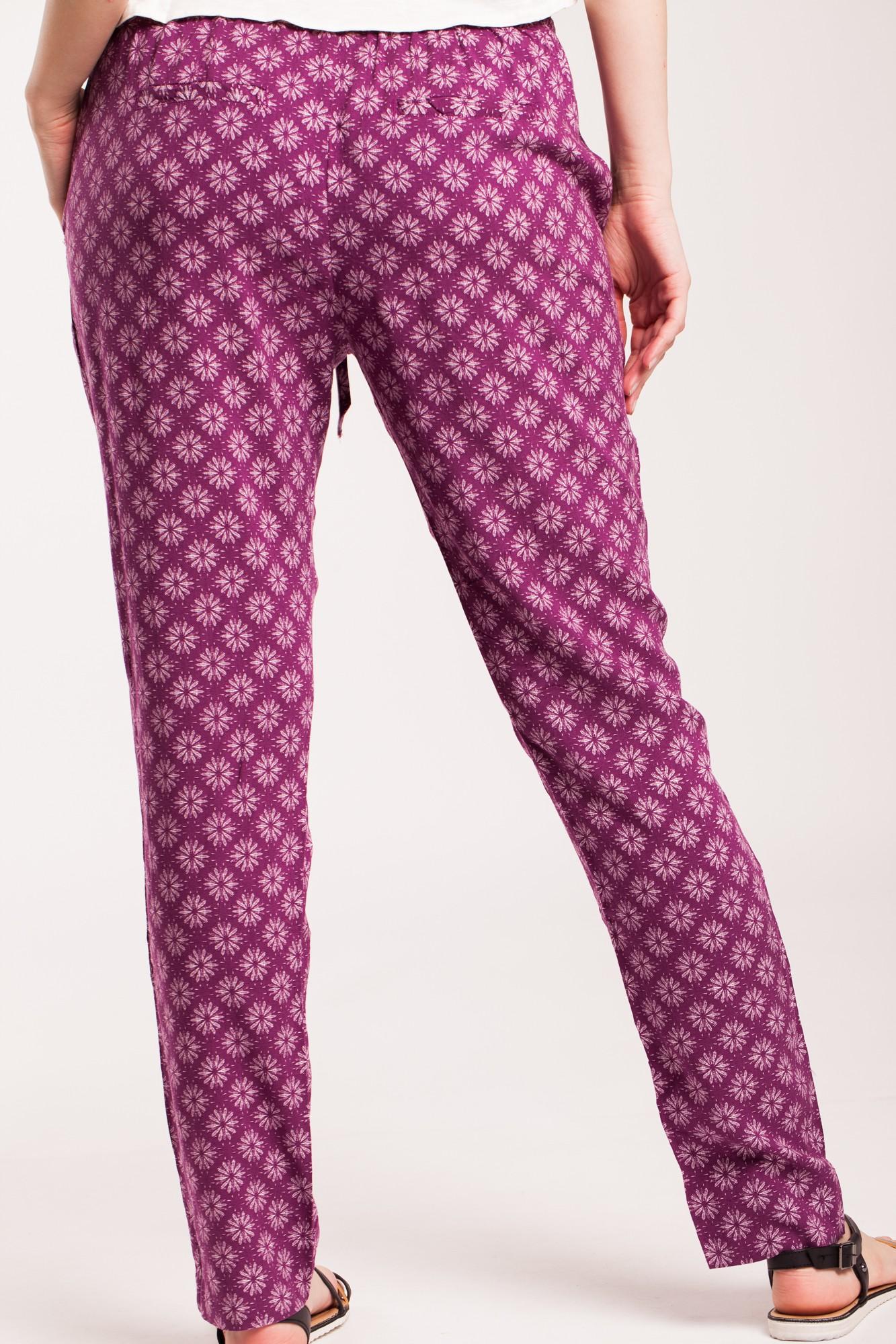 Pantaloni mov visina Lina din vascoza cu imprimeu multi