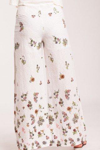 Pantaloni albi evazati din bumbac cu imprimeu floral